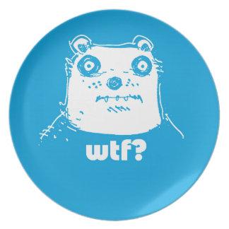 cartoon style blue bear plate
