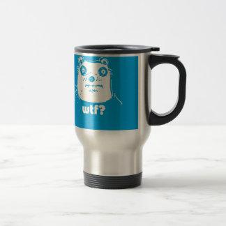 cartoon style blue bear travel mug