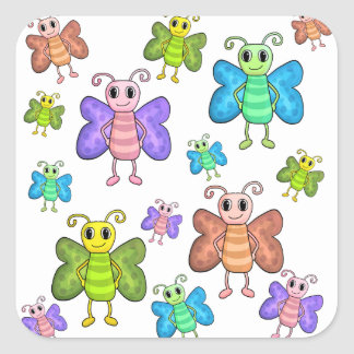 Cartoon style butterflies square sticker