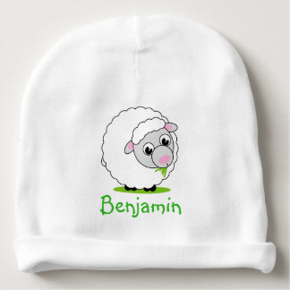 Cartoon style cute and cuddly white woolly sheep, baby beanie