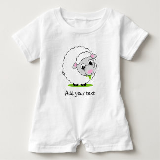 Cartoon style cute and cuddly white woolly sheep, baby romper
