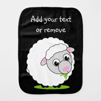 Cartoon style cute and cuddly white woolly sheep, burp cloth