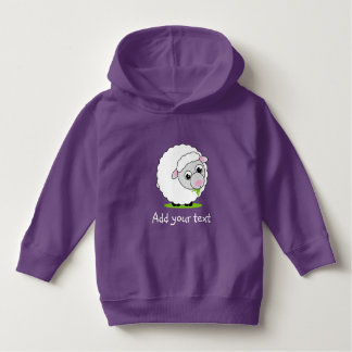 Cartoon style cute and cuddly white woolly sheep, hoodie
