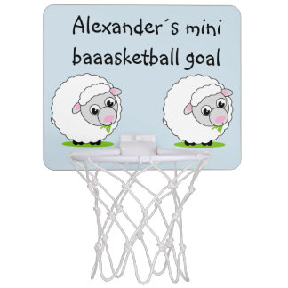 Cartoon style cute and cuddly white woolly sheep, mini basketball hoop