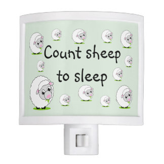 Cartoon style cute and cuddly white woolly sheep, nite lites