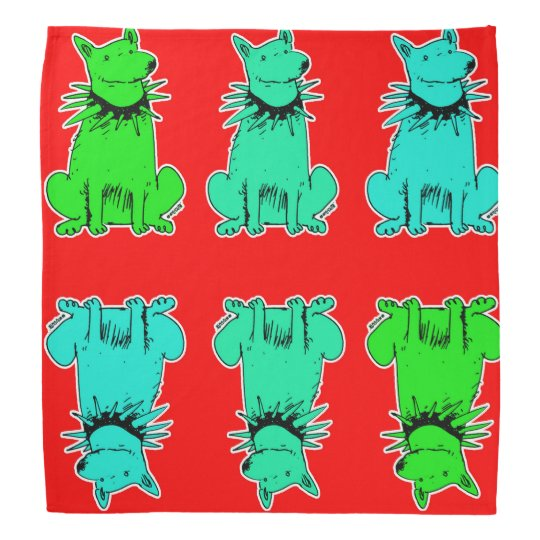 cartoon style dog different colour collage do-rag