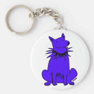 cartoon style dog pure blue keychain
