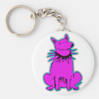cartoon style dog pure purple keychain