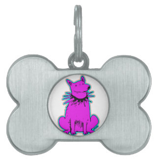 cartoon style dog pure purple pet ID tag