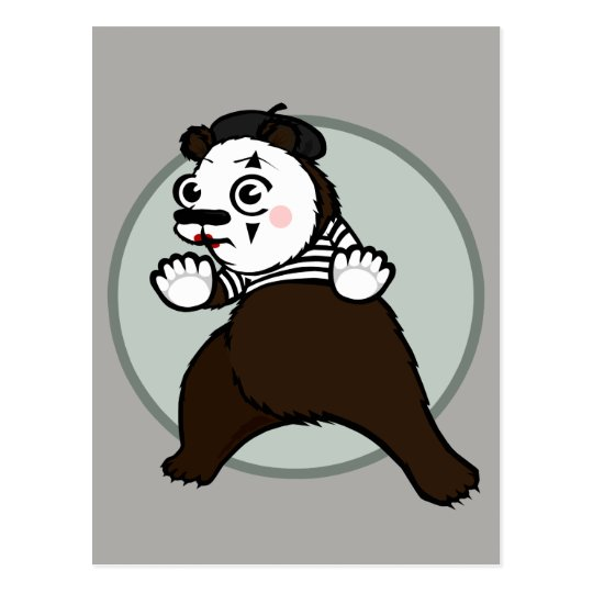 CARTOON STYLE GRIZZLY BEAR MIME VERTICAL POSTCARD