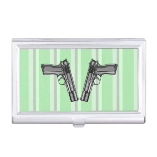 Cartoon style illustration of two handguns business card holder