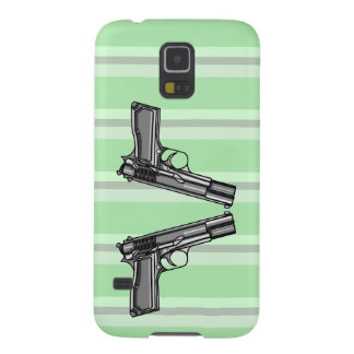 Cartoon style illustration of two handguns case for galaxy s5