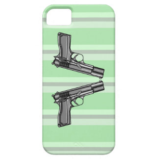Cartoon style illustration of two handguns iPhone 5 cover