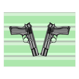 Cartoon style illustration of two handguns postcard