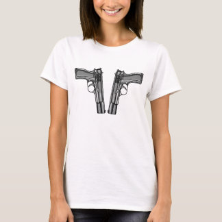 Cartoon style illustration of two handguns T-Shirt