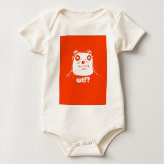 cartoon style illustration orange bear baby bodysuit