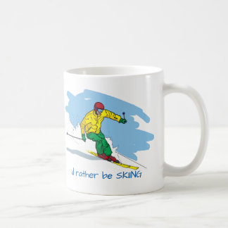 Cartoon Style Rather Be Skiing Illustration Coffee Mug
