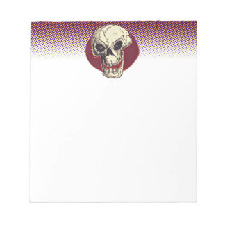 cartoon style skull illustration notepad