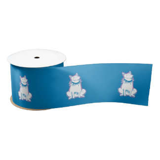 cartoon style white dog blue contour satin ribbon