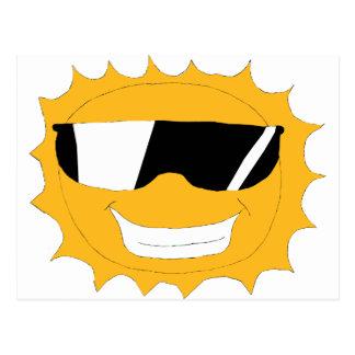 Cartoon Sun With Sunglasses Postcard