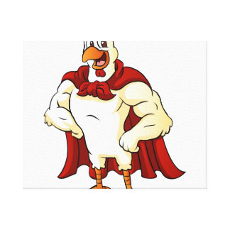 Cartoon super rooster posing canvas print