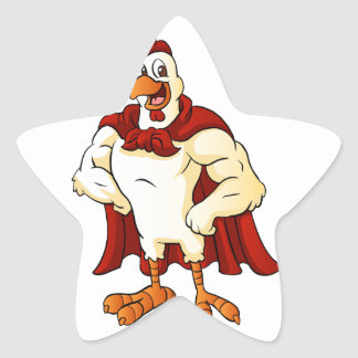 Cartoon super rooster posing star sticker