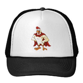 Cartoon super rooster posing trucker hat