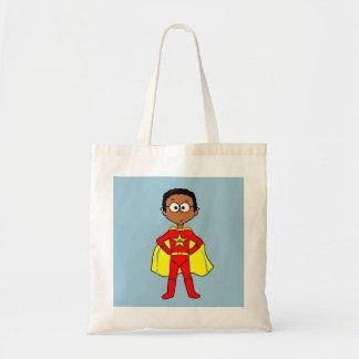Cartoon Superhero Boy Red Suit Standing Proud Tote