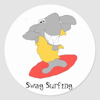 Cartoon Surfing Shark Classic Round Sticker