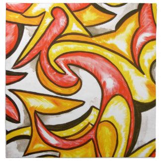 Cartoon Swirl-Abstract Art Hand Painted Napkin