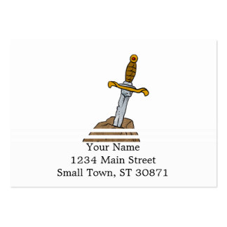 cartoon sword in stone large business card