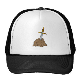 cartoon sword in stone trucker hat