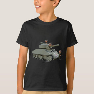 Cartoon Tank and Soldiers at Ease