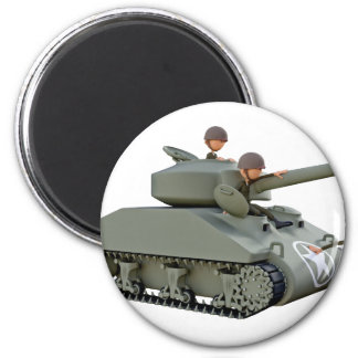 Cartoon Tank and Soldiers at Ease 2 Inch Round Magnet