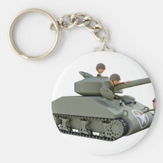 Cartoon Tank and Soldiers at Ease Basic Round Button Keychain