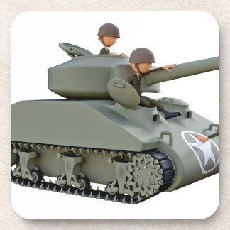 Cartoon Tank and Soldiers at Ease Beverage Coasters