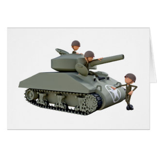 Cartoon Tank and Soldiers at Ease Card