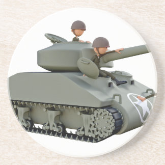 Cartoon Tank and Soldiers at Ease Coasters