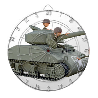 Cartoon Tank and Soldiers at Ease Dartboard