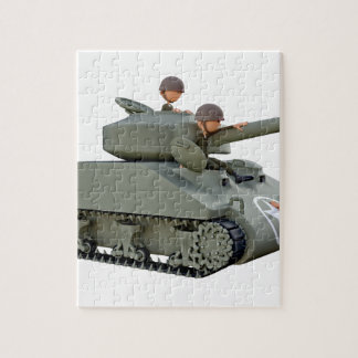 Cartoon Tank and Soldiers at Ease Jigsaw Puzzle