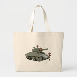 Cartoon Tank and Soldiers at Ease Large Tote Bag