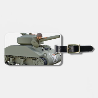 Cartoon Tank and Soldiers at Ease Luggage Tag
