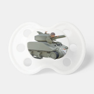 Cartoon Tank and Soldiers at Ease Pacifier