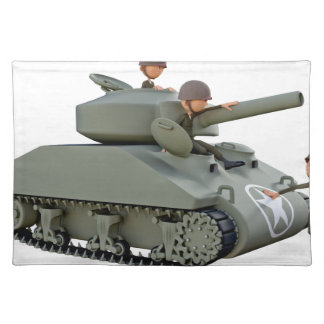 Cartoon Tank and Soldiers at Ease Placemat