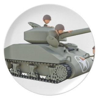 Cartoon Tank and Soldiers at Ease Plate