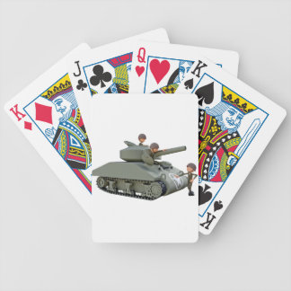 Cartoon Tank and Soldiers at Ease Poker Deck
