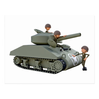 Cartoon Tank and Soldiers at Ease Postcard