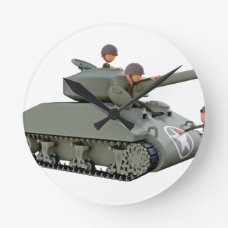 Cartoon Tank and Soldiers at Ease Round Clock