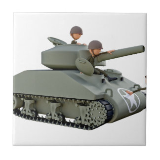 Cartoon Tank and Soldiers at Ease Tile