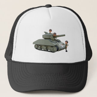 Cartoon Tank and Soldiers at Ease Trucker Hat